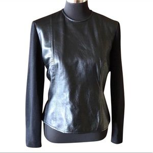 Chetta B. leather long sleeved zippered top